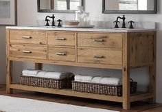 Love the style of this, maybe not the taps though. Reclaimed Wood Bathroom Vanity