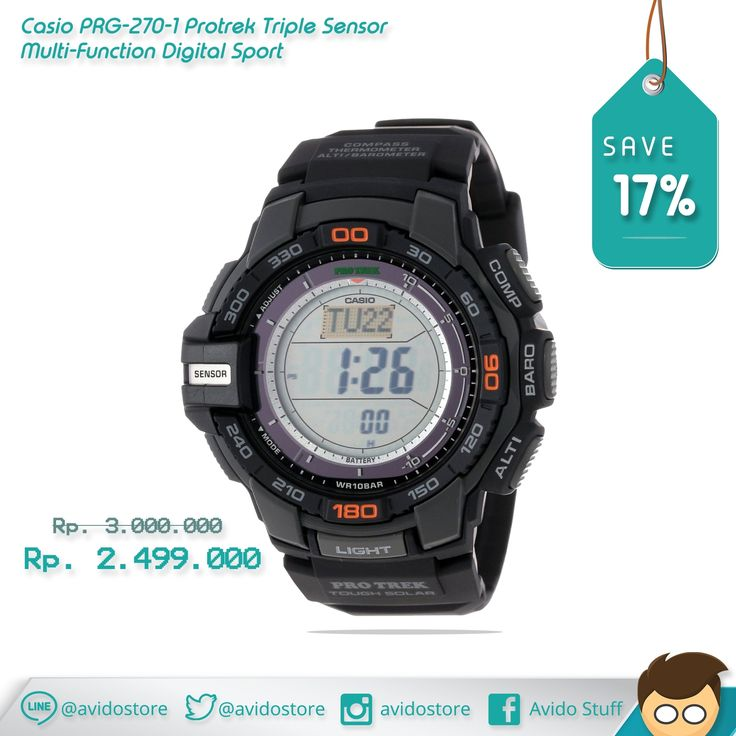 Information Casio Men's PRG-270-1 Protrek Triple Sensor Multi-Function Digital Sport Watch Original :  Feature :  - Outdoorsy types appreciate the extensive functionality of Casio Men's Protrek, the ideal timepiece for all of your sporting needs. - Japanese quartz movement with digital display - Protective mineral crystal dial window - Features include solar power - Low temperature resistant (-10c/14f) - Water-resistant to 100 M (330 feet) - Digital compass with bearing memory