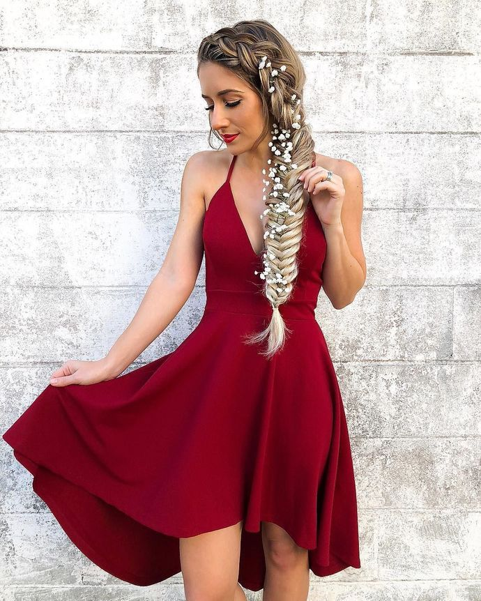 55b7855d1d9 A-Line Spaghetti Straps Sleeveless High Low Red Homecoming Dress ...