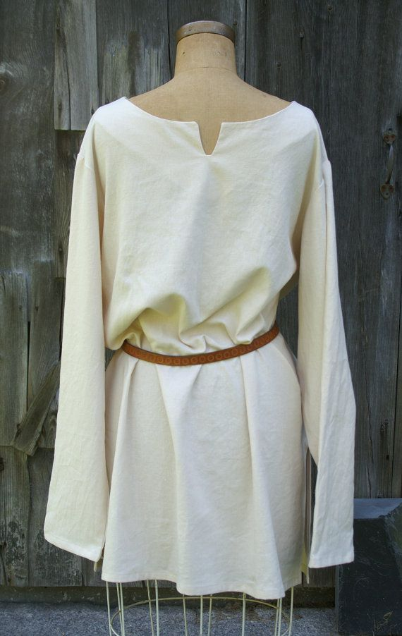 mens early medieval tunic viking shirt in linen for sca larp or renaissance faire