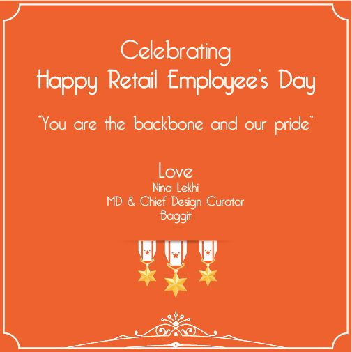 Today on the occasion of #RetailEmployeesDay, we thank all the retail front-end employees for being a part of #Baggit family. #AllTheBest :)