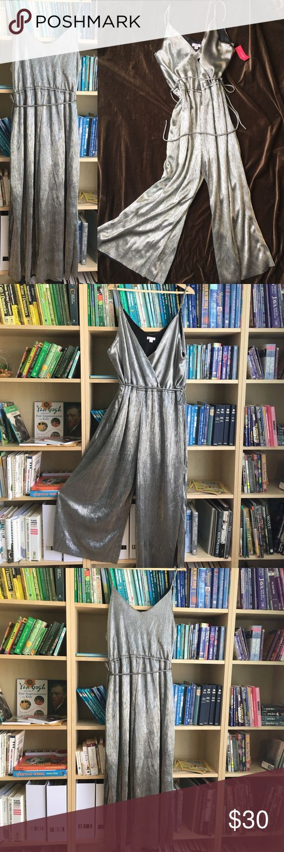 NWT glam metallic jumpsuit Full and slink and swish and glam! This is an attention getter for a sparkly night out. New with tags.   *from a smoke-free, pet-friendly Home. Xhilaration Pants Jumpsuits & Rompers
