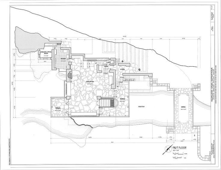 Frank lloyd wright waterfall house floor plans for Frank lloyd wright floor plan