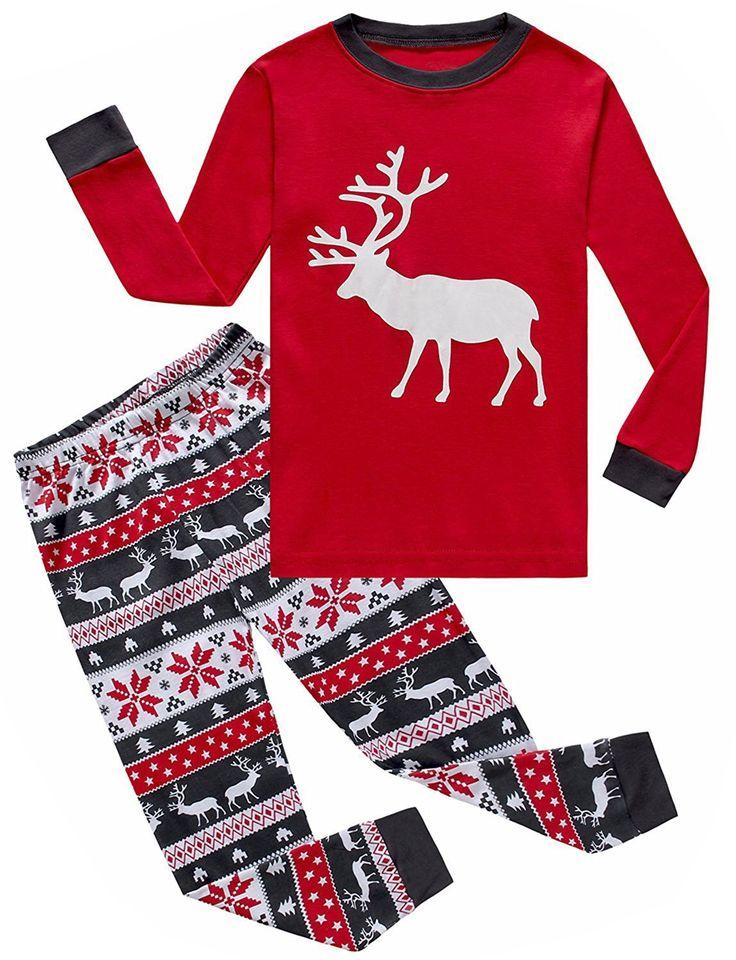IF Pajamas Christmas Baby Girls Boys Pjs 100% Cotton Long Sleeve Newborn Pajamas Sets Size Red 18-24 Months