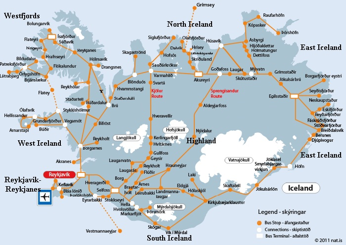 BUS SCHEDULES IN ICELAND, TRANSPORTATION IN ICELAND