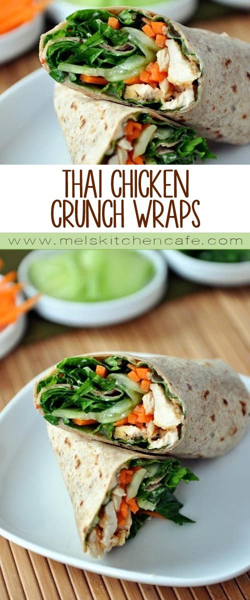 A healthy recipe for Thai chicken wraps loaded with crunchy vegetables and lots of flavor.