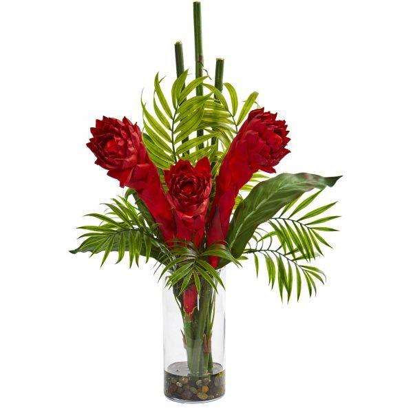 home decor silk floral arrangement floral decor tropical.htm 21 h faux ginger torch arrangement in cylinder vase cylinder  torch arrangement in cylinder vase