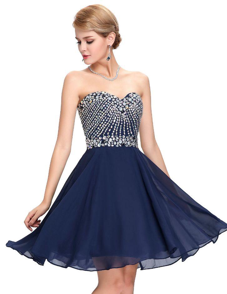Dark blue cocktail dress with embellishment
