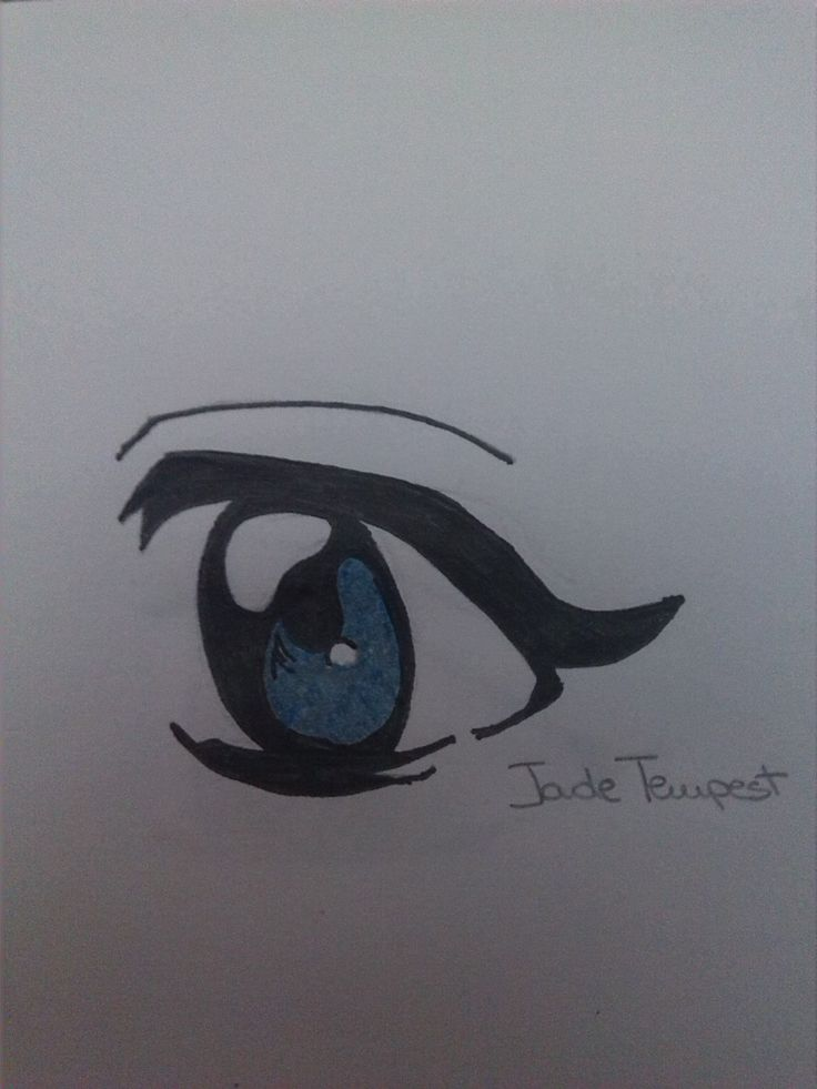Eye 5. I portraited this by an image I found in Internet. I used a pencil, the china pen and the grey and light blue markers.