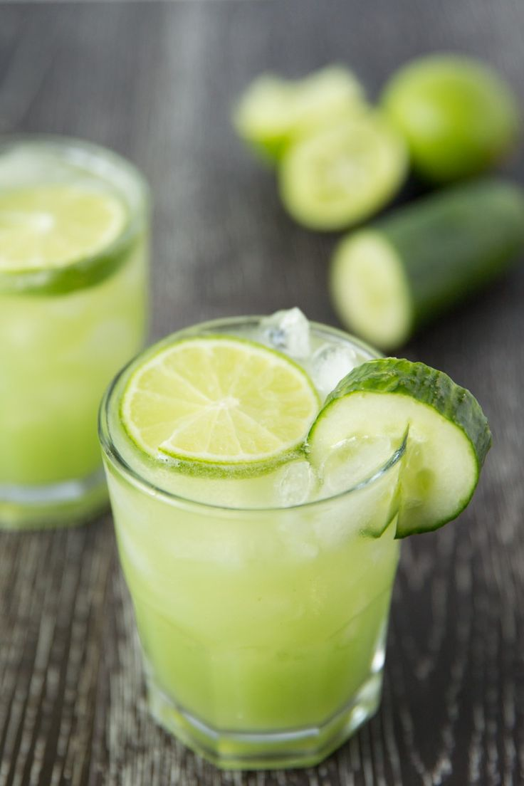 Refreshing cucumber lime margaritas.