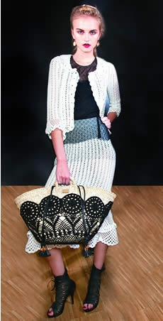 Aplicação de crochê para bolsa de palha