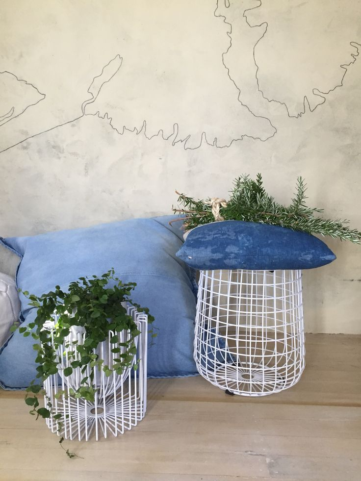 Handcrafted wire storage stool and wire fruitbowl &/or planter. Www,icotraders.co.nz
