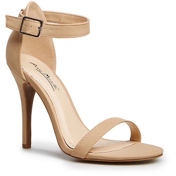 DAILYLOOK Simple Strap Heels ($12) ❤ liked on Polyvore featuring shoes, sandals, heels, sapatos, high heels, beige, heeled sandals, high heel shoes, strappy heel shoes and beige high heel sandals