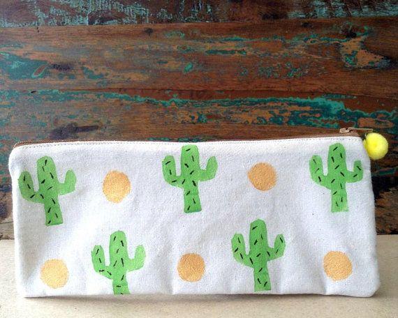 Pencil Case - Makeup Bag - Beige Cotton Purse - Handmade Pencil Case / Makeup Bag - Green Cactus Pencil Case / Makeup bag