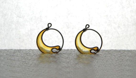 Crescent earrings wire resin dangles mustard by TheHappyLollipop