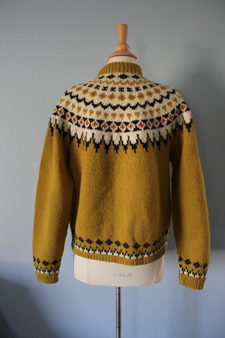 1960s fair isle sweater / 50s fair isle / Mustard Fair Isle.