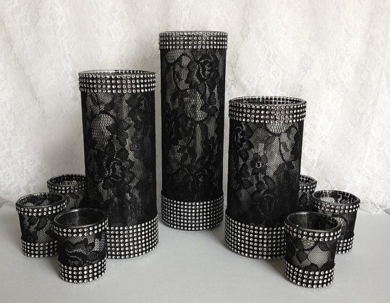 9 piece black lace covered glass vases and votive candles with rhinestone mesh wedding, bridal shower, birthday table table centerpieces on Etsy, $84.00
