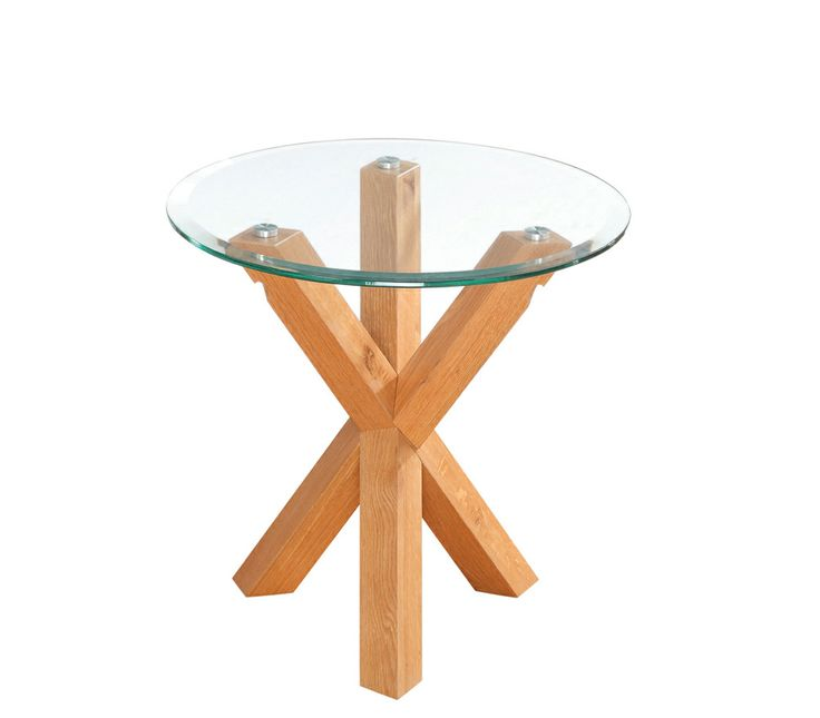 Oporto End/Lamp Table  Solid Oak. Tempered glass. Diameter: 500mm x H500mm