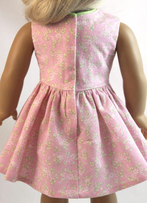 Vestido floral rosa  cinta para la muñeca de la muchacha