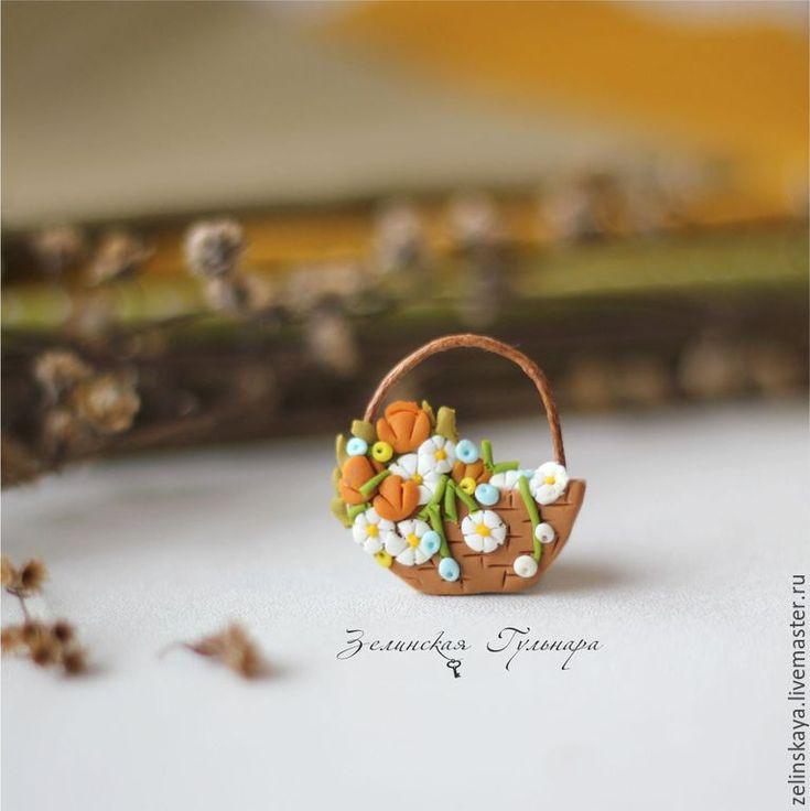 Купить Корзинка с полевыми цветами. Брошь - разноцветный, полевые цветы, корзинка с цветами, цветочная брошь