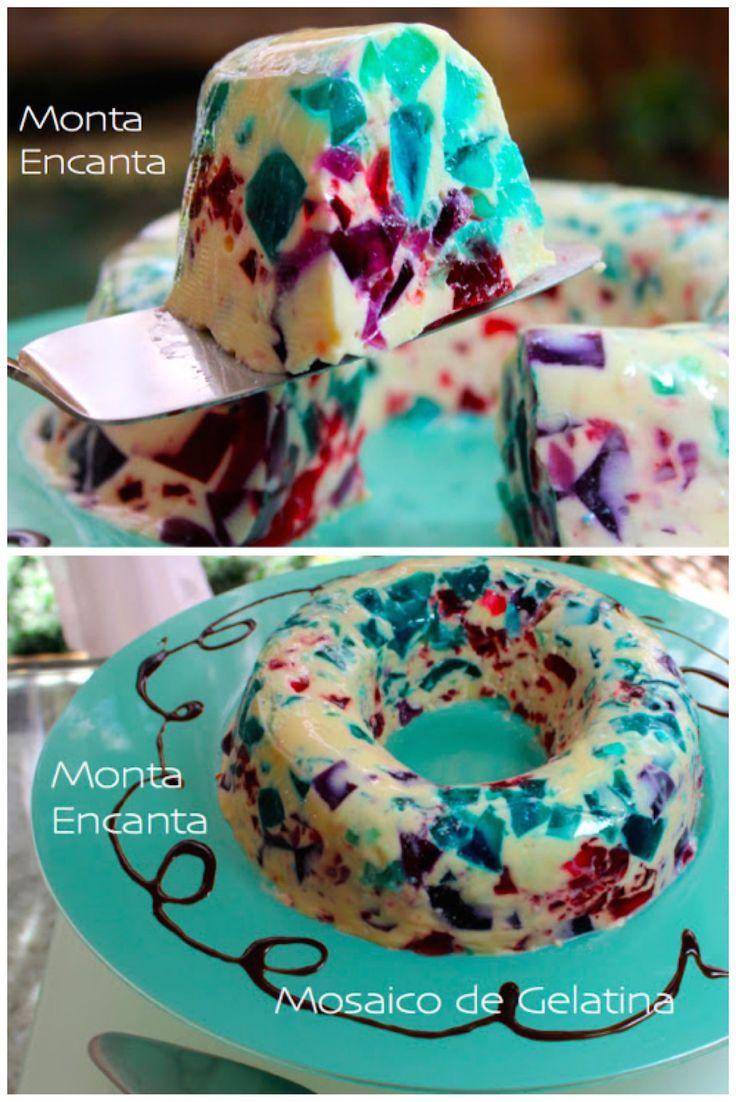 Gelatina Colorida, gelatinas coloridas em formato fofo, como mosaico, sobremesa gelada e refrescante