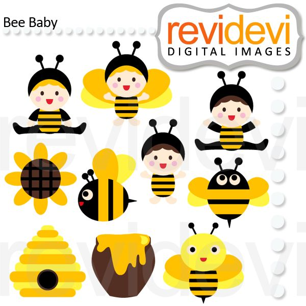 Cute babies in bee costumes, and some bees too. In black and yellow. These   digital images  are  great for any craft and  creative     projects (first birthday, etc)