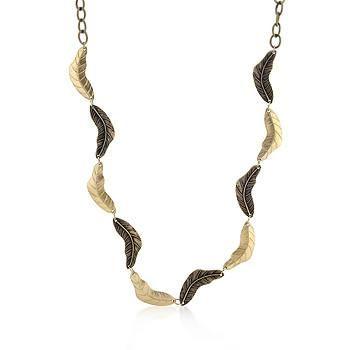 Vintage Leaf Two-tone Finish Necklace