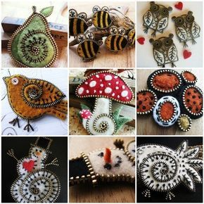 Ideas for creativity - Brooches made of wool and zipper (14 pictures). More ideas: http://wonderdump.com/ideas-for-creativity-brooches-made-of-wool-and-zipper-14-pictures/