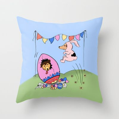 Easter Bunnies Throw Pillow by Mr Badger & Little Stitch - $20.00