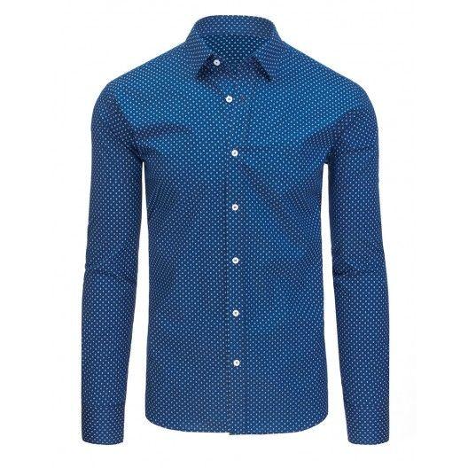 bb7d0d4e6c5 Moderní pánské košile s dlouhým rukávem modré barvy a střihu slim fit -  manozo.cz