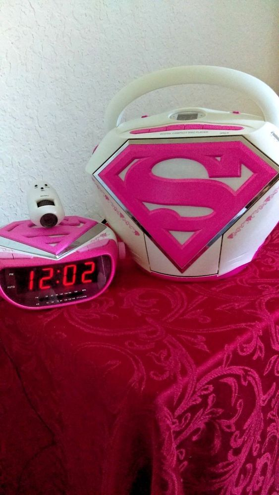 Super Girl PINK Boom Box Radio CD & Alarm Clock Projector Superman Super Women #KisStationToysIntl