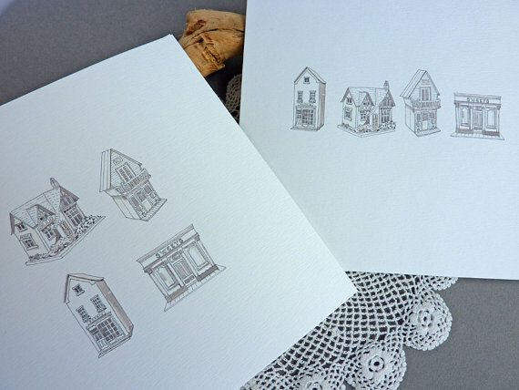 Miniature Houses blank greetings cards  2 pack  by CardCreative, £3.75