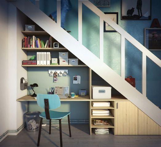 Et pourquoi pas un bureau sous l'escalier ?