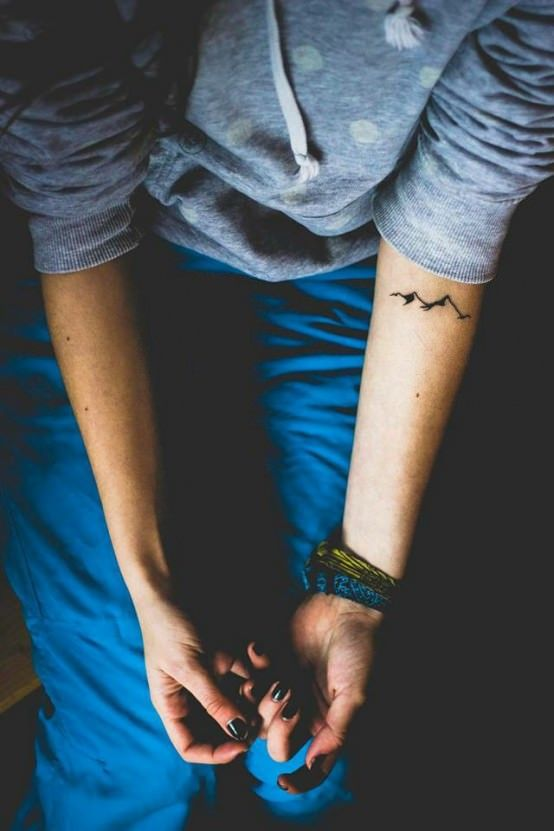 Simple mountain tattoo. Click the picture for 100+ elegant tattoo ideas!