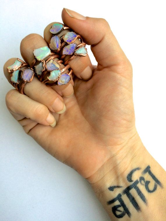 Genuine opal jewelry Australian opal ring Rough by HAWKHOUSE
