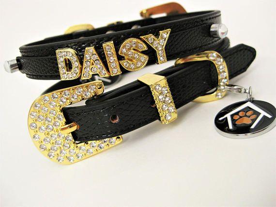 Rhinestone Dog Collar | Black &Gold Dog Collar | Gold and Rhinestones | Personalized Bling Dog Collar | S M L dog collar