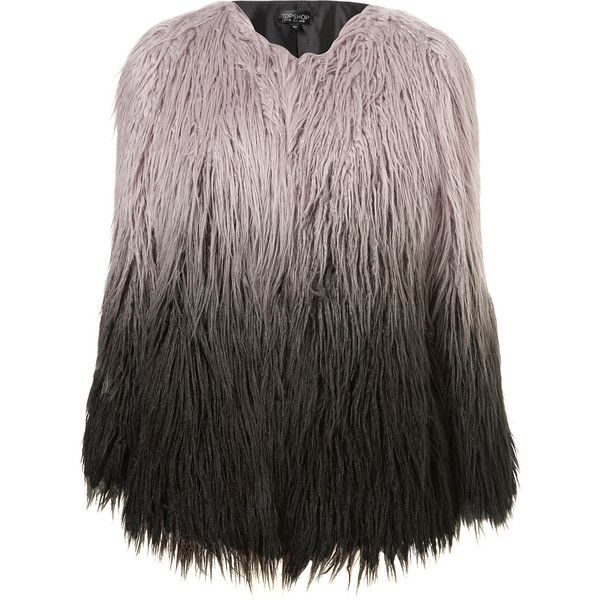 TOPSHOP Ombre Faux Mongolian Fur Coat (79 CAD) ❤ liked on Polyvore featuring outerwear, coats, jackets, fur, topshop, grey, faux fur coat, gray coat, grey fur coat and faux coat
