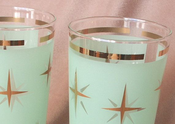 AToMiC AGe...Set of Two 50's Vintage Bar Glasses, Seafoam Green with Metallic Gold Starbursts