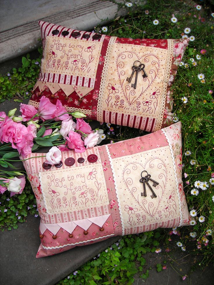 """""""Keys to my heart"""" by Sally Giblin of The Rivendale Collection.  Verse reads: Keys to my heart. Finished cushion size: 19"""" x 13""""  #TheRivendaleCollection stitchery, appliqué and patchwork patterns.  www.therivendalecollection.com.au"""