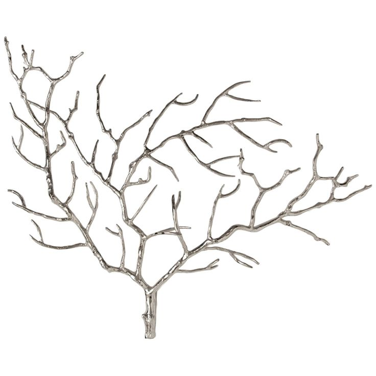 Tree branch wall sculpture crafted of steel with a polished nickel finish. Hang alone or group with another. Details: - Polished Nickel finish - Color: Gray - Overall Shape: Triangle - Materials: Stee
