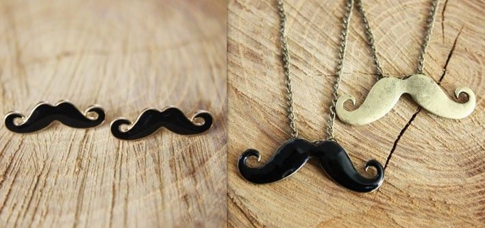 Movember Moustache Necklace and Earrings Combo for just $22!