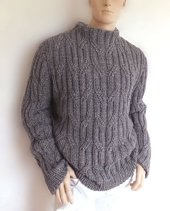 Mens cable knit sweater. Aran knit pullover in alpaca wool mix yarn. Made to…