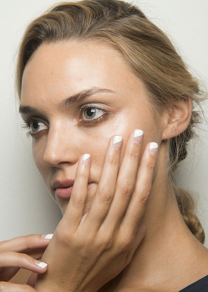 Browse the best nail art ideas from fashion month Spring 2017 at @StyleCaster | Marissa Webb's white and nude nails