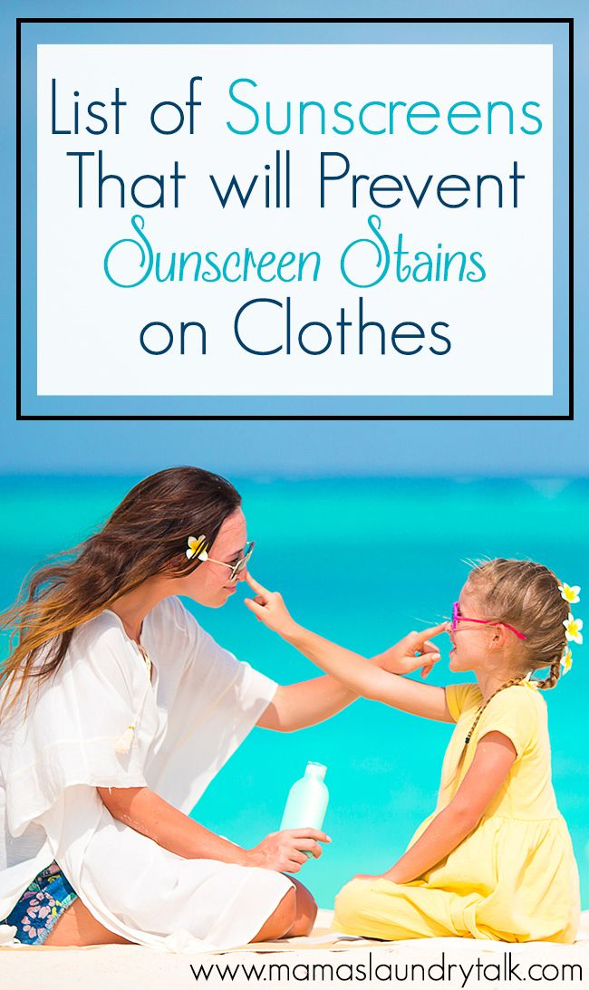 The sunscreens on the list will prevent sunscreen stains on clothes!