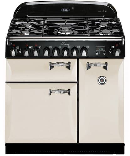 AGA ALEG36DFIVY 36 Inch Pro-Style Dual Fuel Range with Convection, Glide-Out Broiler, Multifunction Oven, 4.5 cu. ft. Total Capacity, 5 Sealed Gas Burners, Handyrack Technology, Delay Cook, Timer and Plate Warming Rack: Ivory