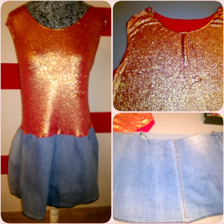 Pretty Red, gold and denim dress (bust cotton, skirt jeans). Sleeveless, round neckline. Glitter gold coating on the front. Made in Italy di RCClo su Etsy