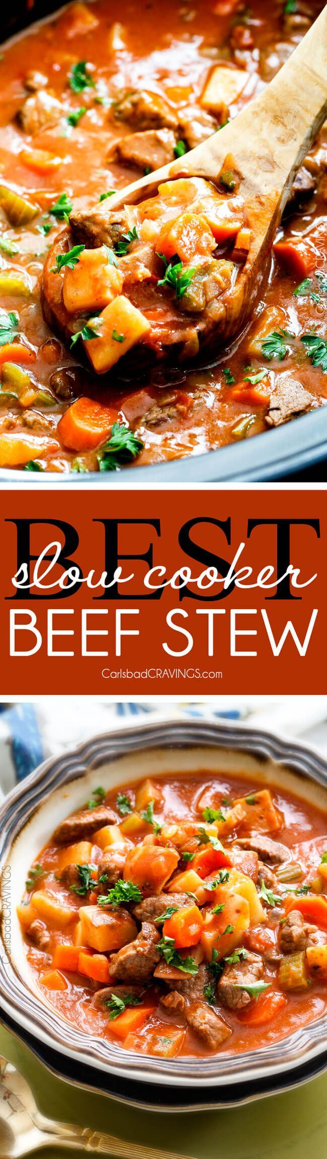Slow Cooker Beef Stew - this is the best beef stew recipe I have ever tried! Super flavorful and SO Easy! You will want to drink the gravy broth! via /carlsbadcraving/