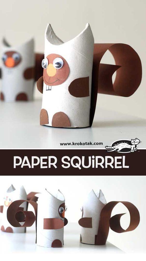 Eichhörnchen aus einer Klorolle