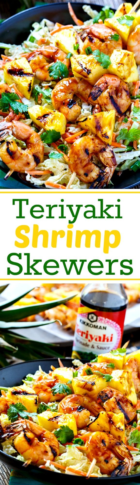 Grilled Teriyaki Shrimp Skewers with Asian-style Slaw. An easy summer meal!