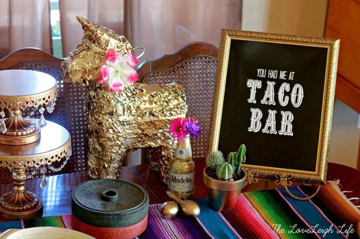 Love the taco bar and the printable is free on her blog | The loveleighlifeblog